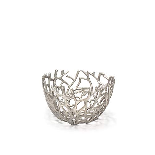 Small Silver Aluminum Nest Inspired Metal Serving Bowl for Tabletop Accents, Centerpieces, Parties, Special Events, Holidays, Home Décor and Displays ()