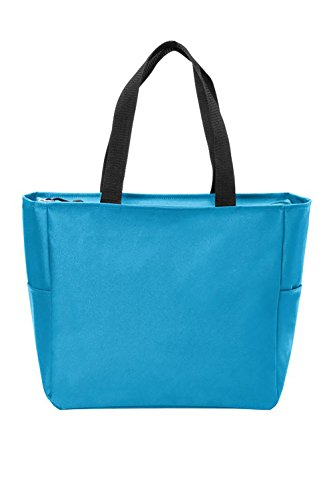 Essential Zip Tote Polyester Canvas Tote Bag with Zipper Top Closure and Two end pockets (1, Turquoise) by BagzDepot