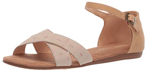 (TOMS Women's Correa Sandal Oxford tan Woven/Honey Synthetic Suede 9.5 B Medium US)