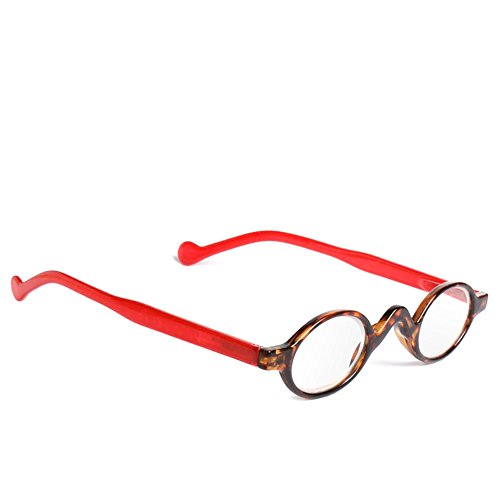 Doober Retro Vintage Mini Small Round Frame Readers Men Womens Reading Glasses (Red with Leopard, - Sunglasses Older Ladies For
