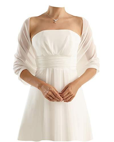 Chiffon Stola Chiffonschal - Brautstola perfekt zum Brautkleid - Festliche Chiffonstola - Abendstola - Elegant Klassisch - Hochzeit Abendkleid Abiballkleid - 230 cm x 50 cm - WEIß, IVORY