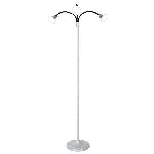 3 Head Floor Lamp, LED Light with Adjustable Arms, Touch Switch and Dimmer (Silver) by Lavish Home -