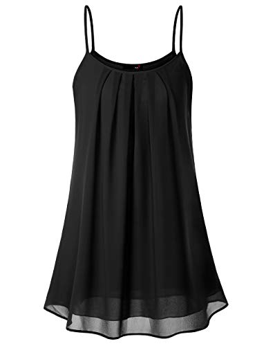 DJT Women's Spaghetti Strap Sundress Summer Floral Swing Dress Black L