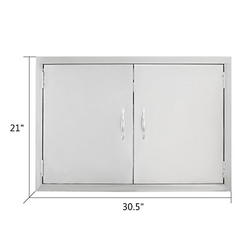 VEVOR Double Stainless Door 30.5''W by 21''H Barbecue Island Door Flush Mount Access Door with Handle for BBQ and Outdoor Kitchen by VEVOR