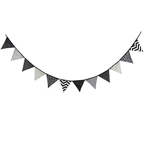 (Multi Colored Fabric Bunting For Party Birthday Wedding Anniversary Celebration Baby Shower(Black & White))