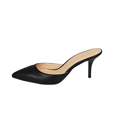 s Pointed Toe Slip On Open Back Stiletto Kitten Heels Crossdressing Mule Sandals Black EU 39 - US7.5 (Heel Leather Mule)
