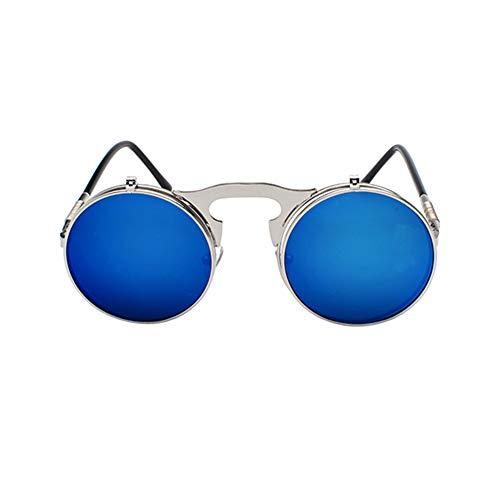 Bleu Argenté Up De La Anti Soleil Métal Vintage Meijunter Lunettes Style Mode Vue Rond Double Lens uv Steampunk Flip En Cadre RwZqnEgH