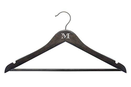 NAHANCO Personalized Wooden Hangers -17 Monogramed Custom Hangers -20717WBC Espresso Top Suit Wood Hanger  100 piece Pack [並行輸入品] B07N8CTZ95
