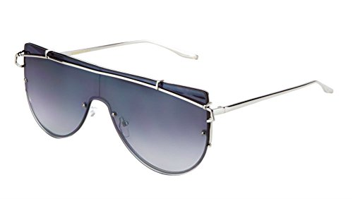 Luxe Hollywood Shield Flat Top Flat Lens Sunglasses (Silver Frame, - Sunglasses Celeb