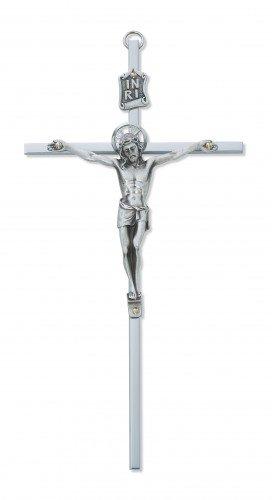 Silver Tone Jesus Christ INRI Cross Wall Crucifix, 8 Inch - Metal Crucifix