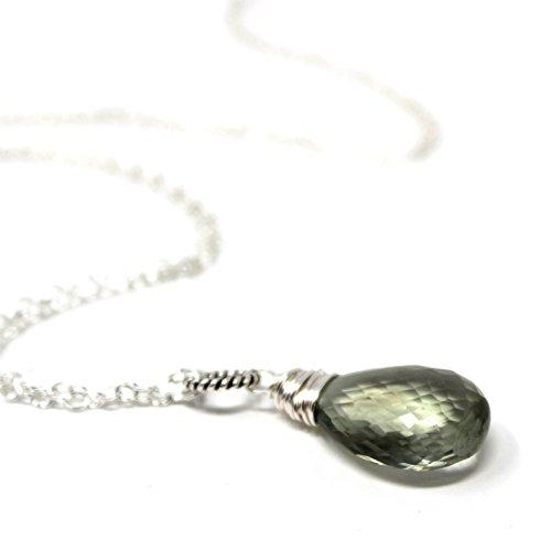 Aqua Quartz Briolette Necklace - Green Amethyst Necklace Sterling Silver Prasiolite Pendant Mint 18 Inches