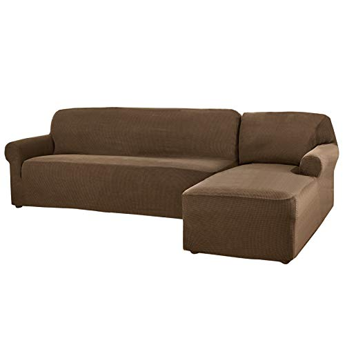 CHUN YI 2 Pieces L-Shaped 3 Seats Jacquard Polyester Stretch Fabric Sectional Sofa Slipcovers for Living Room (Right Chaise(3 Seats), Coffee)
