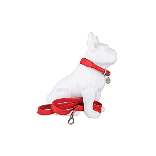 HaberHauer Collection Ostrich Leather Designer Dog Collar & Leash Set, Medium 13.75-17 Red ()