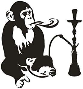 Mono con apliques de vinilo de cachimba Interior para el hogar Hookah Relax Etiqueta de la pared Mover divertido Mono mono42x45cm