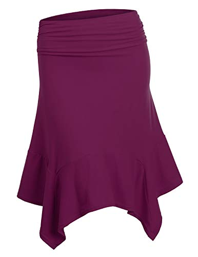 Doublju Womens Elastic Waist A-Line Flowy Asymmetrical Pleated Midi Skirt DARKVIOLET X-Large