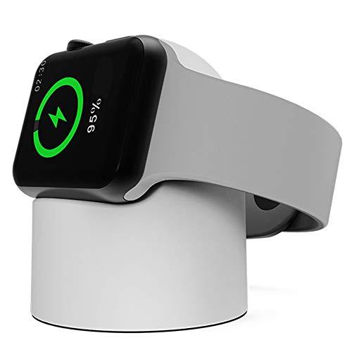 Cywulin Charging Dock Stand Designed for Apple Watch Series 4, Series 3, Series 2, Series 1, Compact Charger Holder Cradle Bracket Station Portable Compatible for iWatch 44mm 42mm 40mm 38mm (White) (Pda Charging Station)
