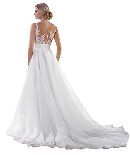 Tsbridal Women's Tulle Chiffon Appliques A-Line Beach Wedding Dresses Sleeveless White Birdal Gown