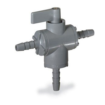 Cole-Parmer Ball valve, 3-way, 3/8'' barb - PVC w/EPDM seals