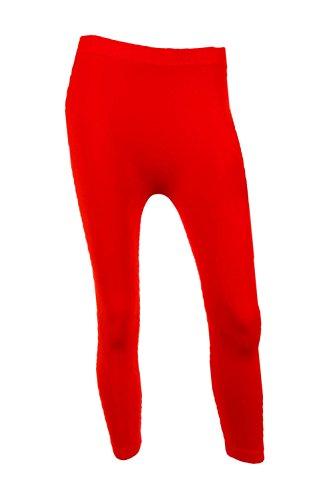 Sofra Women's Capri Calf Length Color Leggings-Red -