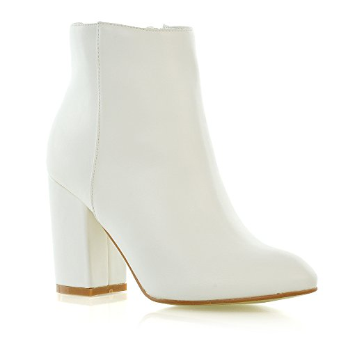 Boots White Heel (ESSEX GLAM Womens Casual Block Mid High Heel Smart Ankle Boots (6 B(M) US, White Synthetic Leather))
