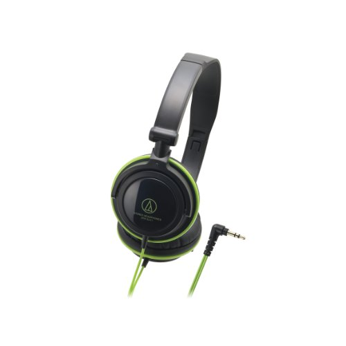 Audio Technica ATH-SJ11 Audio Headphones, Black Green