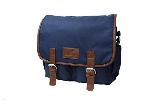 s inch Notebook Computer Vintage Crossbody Shoulder Hand Nylon Leather Trimming Blue ()