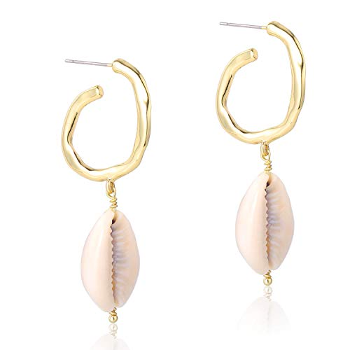 - Natural Cowrie Shells Semicircle Hoop Conch Seashell Drop Dangle Earrings 14K Gold Plated Fashion Jewelry for Women Girls