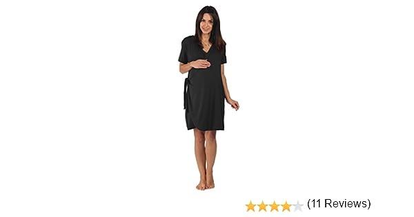 La bata de maternidad de bambú - Para el embarazo, el parto, la lactancia materna y la vinculación afectiva, Negro, Antes del embarazo Talla M Mediana (ES 38-40): Amazon.es: Bebé