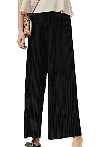 con a e ampi pantaloni eleganti larghe in elastico palazzo donna donna vita leggero Nero alta pieghe in estivi Pantaloni casual chiffon da da a da vita Pantaloni Pantaloni Kbwin SxqFvTU