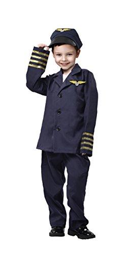 Pilot Costume for Boys - 3-Piece Flight Captain Hat, Jacket, Pants, Age 3-5