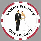 100 Custom Printed Wedding Poker Chips, with Your Artwork or Image Printed on the Chips