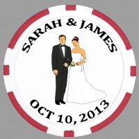 100 Custom Printed Wedding Poker Chips, with Your Artwork or Image Printed on the Chips by ChipAndGames
