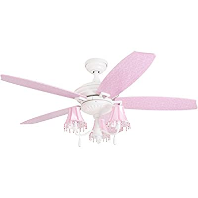 "Prominence Home 41111-01 Addy 48"" Pink Ceiling Fan, Chandelier Lamp Shades Dusty Rose/Blushing Glow Blades, Classic White"