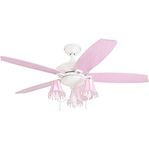 "Prominence Home 41111-01 Addy 48"" Pink Ceiling Fan, Chandeli"