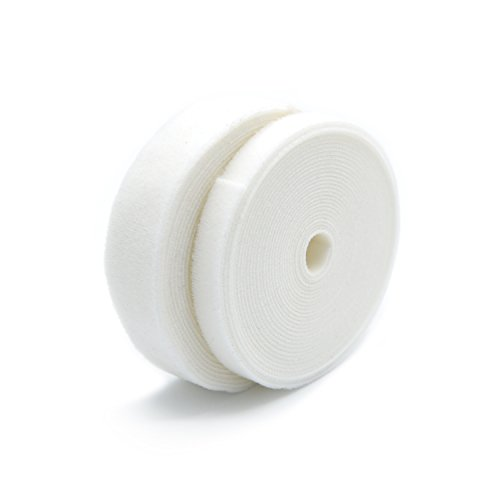 Patu Reusable Muti-Purpose Fastening Tape Cable Ties - 2 Roll (5 Yards x 0.5 & 5 Yards x 1) Hook and Loop Cord Management Wire Organizer Straps, White
