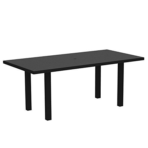"POLYWOOD AT3672FABGY Euro 36"" x 72"" Dining Table, Textured Black/Slate Grey"