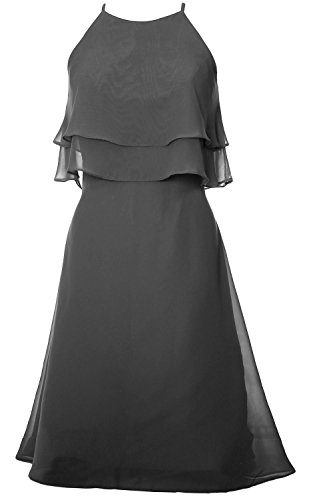 Dress Prom Cocktail Gown Grau Halter Chiffon Dress MACloth Short Bridesmaid Tiered H00wq8g