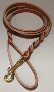 Punk Hollow Leather Dog Leash ~ Double Braided ~ 6 ft X 1/2 in ~ Brown/Brass (Lifetime Guarantee), My Pet Supplies