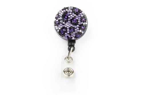 Animal Print Pull Reel Retractable ID Badge Holder with Rhinestones Purple