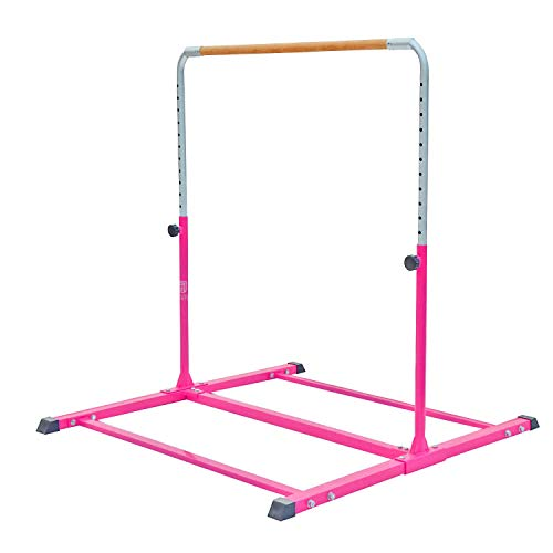 Modern-Depo Adjustable Junior Kip Bar 3'- 5' Gymnastics Horizontal Bar for Kids Home Training, Beech Wood Crossbar, Pink