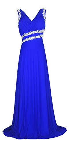Licoco Women Beading Straps Ruched Long Formal Prom Gowns Bridesmaid Dress - Beaded Dress Prom Ruched