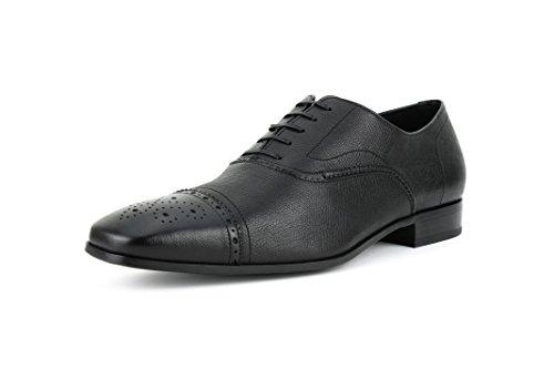 Salvatore Ferragamo Lace Up Oxfords (Salvatore Ferragamo Men's 'Lane' Calfskin Brogue Leather Cap-Toe Oxford, Black (Nero) (11 D(M) US))