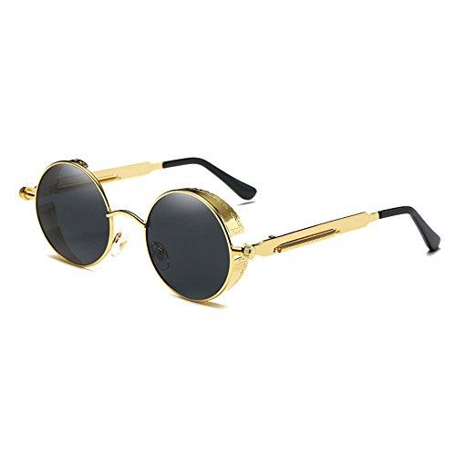 vintage de Gafas Steampunk UV400 de Circle Sol Unisex sol Round hombres la Diseño Polarizadas y Gafas Gris marca BAINASIQI Dorado de mujeres para PxqYSEw