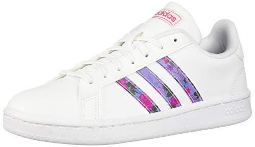 adidas Women's Grand Court Walking Shoe, White/Glow Blue/Real Pink, 9.5 Medium US (Best Adidas Walking Shoes)