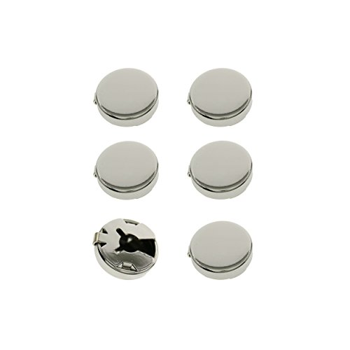 Ms.Iconic 15MM Silver Round Cuff Button Cover Cuff Links for Wedding Formal Shirt 6pcs/set (Silver)