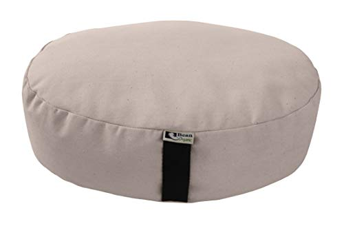 Bean Products Natural - Oval Zafu Meditation Cushion - Yoga - Organic 10oz Cotton - Organic Buckwheat Fill - Made in USA