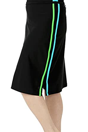 HydroChic Womens Sporty Long Water Skirt/Shorts XL in Black/Sea Blue/Lime Green
