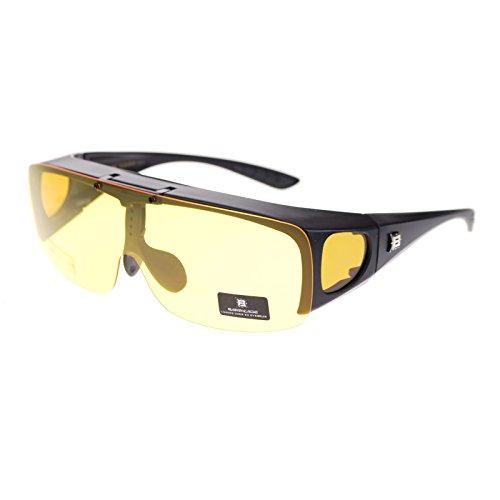 Barricade Large Mens Polarized Flip Up Fitover Sunglasses Black - Flip Sunglasses Up Amazon