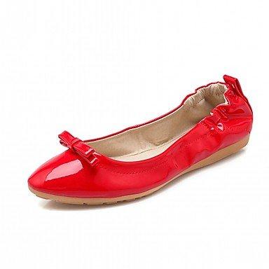 Wuyulunbi@ Damenschuhe Frühjahr Herbst Komfort Neuheit Spitzen hellen Sohlen Wohnungen Flache runde Spitzen Neuheit Bowknot für Casual Kleid Rot Beige Schwarz 004856