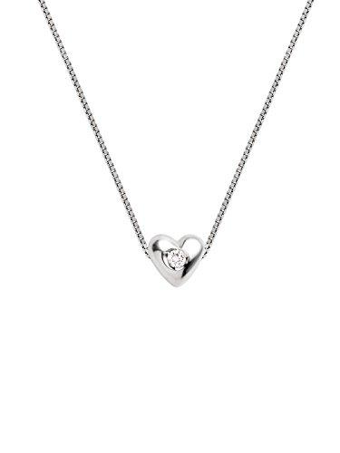 & You - Parure collier et boucles d'Oreilles Coeur - Argent 925 - Diamant 0.09 cts - AM-PARHEART03